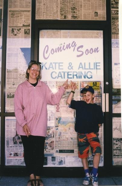 Mom and I outside restaurant